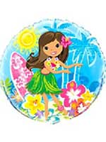 Luau Girl Foil Balloon Rounded 18""
