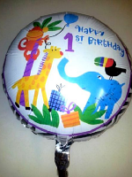 Foil Balloon 'HAPPY 1ST BIRTHDAY ' Jungle Animals