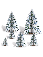 "3-D Winter Pine Tree Centrepieces 4""-12½"""