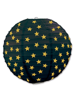 Star Paper Lanterns - Black & Gold