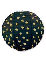 Star Paper Lanterns - Black & Gold