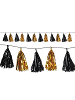 Metallic Tassel Pom Pom Garland - Gold & Black