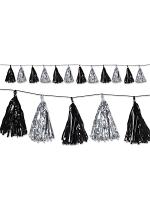 Metallic Tassel Pom Pom Garland Decoration - Silver & Black