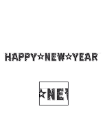 Glittered Happy New Year Banner - Black & White