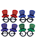 Glittered New Year Top Hat Glasses  1 Per Package