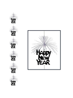 Happy New Year Firework Hanging Stringer Decoration - Black & Silver