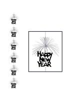 Happy New Year Firework Hanging Stringer Decoration - Black & Silver