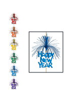 Happy New Year Firework Stringer Decoration - Multi Coloured