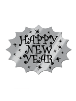 Silver Foil Happy New Year Cardboard Cutout