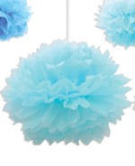 Light Blue Paper Fluff Ball Decoration