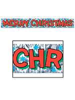 Merry Christmas Fringed Metallic Banner