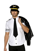 Fever Mile High Costume, Black And White With Hat, Shirt And Tie