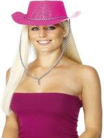 Glitter Cowboy Hat Neon Pink