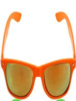 Orange Neon Wayfarer Glasses with Mirrored Lense