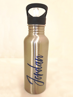 Personalised Silver Water Bottle with Attached Straw