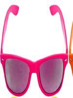Pink Neon Wayfarer Glasses with Mirrored Lense