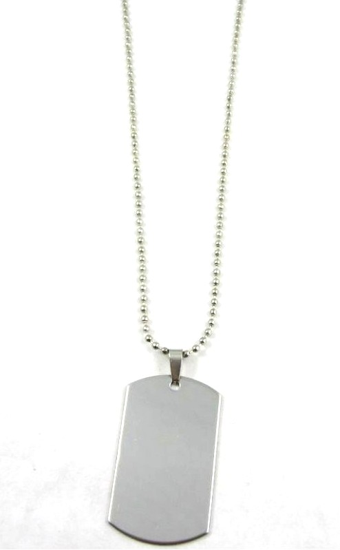 Plain Dog Tag on Ball Chain