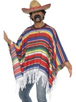 Mexican Poncho Multi Coloured Rainbow Fancy Dress Inc Full Accessories (12345)