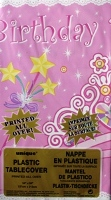 "Birthday Princess Party Plastic Leak-Proof Tablecover Size 54"" x 96""."