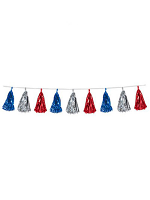 Red Silver and Blue Metallic Tassel Garland