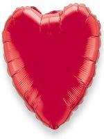Foil Balloon Heart Solid Metallic Red