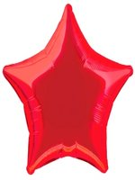 Foil Balloon Star Solid Metallic Red