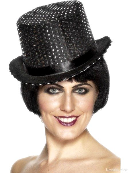 Top Hat Topper Black Felt With Silver Sequins