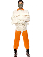Hannibal Costume. Orange With Jumpsuit, Mask And Straight Jacket