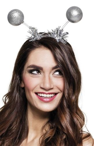 Silver Glitter Head Bopper with Tinsel Trim
