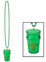 St. Patrick's Beads With Shot Glass