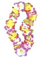 Hawaiian Lei Garland Luxury Rainbow Silky Flowers