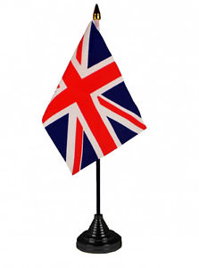 Union Jack Table Flag with stick and base