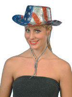 Glitter Cowboy Hat USA Star's n Stripe's