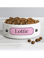 Personalised Pink Plaque 14cm Medium Pet Bowl