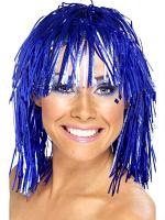 Cyber Tinsel Wigs Blue