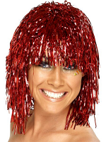 Cyber Tinsel Wigs - Red