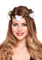 Flower Garland Headband - White