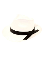 Gangster Plastic Hat White With Black Band