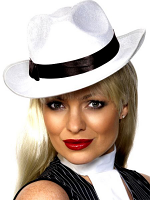 Gangster Hat White Velour With Black Band Fantastic Quality!!